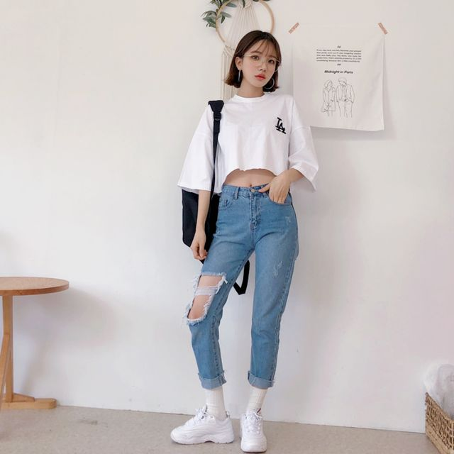 Quần jean áo thun nữ 5